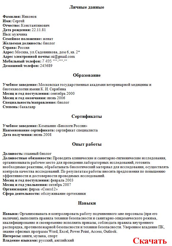 Образец Резюме Химика-аналитика - фото 8