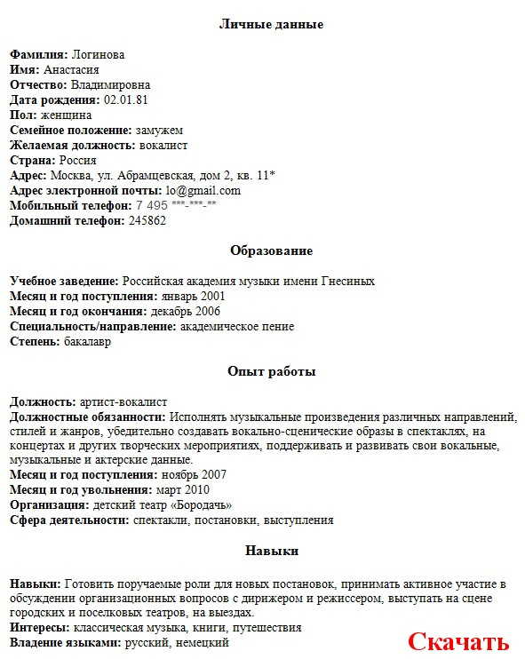 Образец Резюме В Мчс - quotestatya12